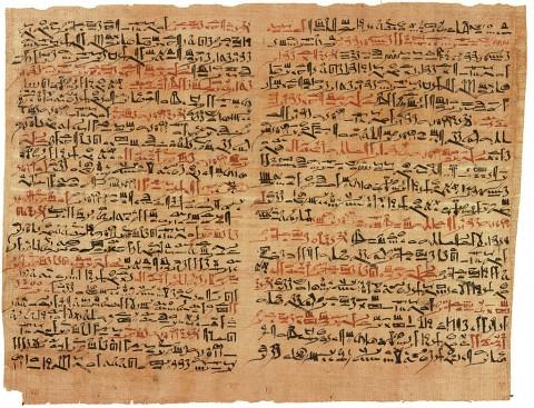 Il 'Papiro Edwin Smith', un antico testo medico egiziano, dal nome del concessionario che lo acquistò nel 1862. E' il più antico trattato sul trauma da chirurgia conosciuto, scritto da Imhotep nel 1501 aC. (Wikimedia Commons)
