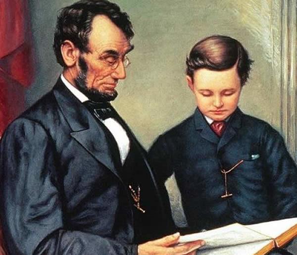 Abrahamo Lincoln con suo figlio