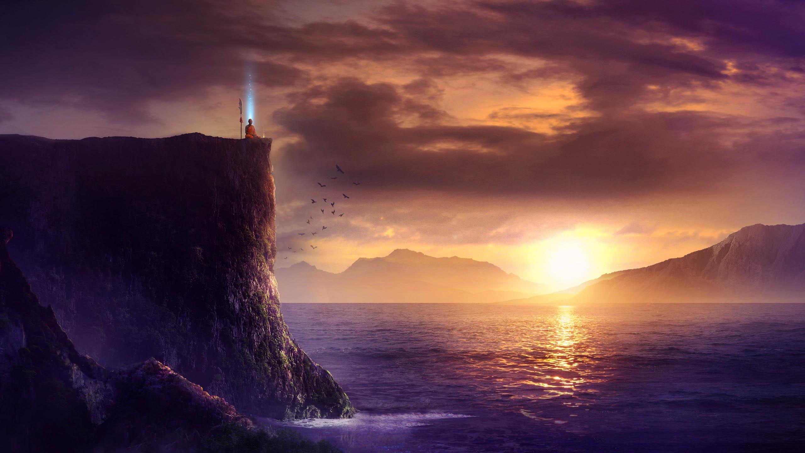 Solitudine, tramonto sulla scogliera