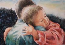 Abbracciarsi - Illustrazione di Franco Pagliarulo, www.altamiradecor.com