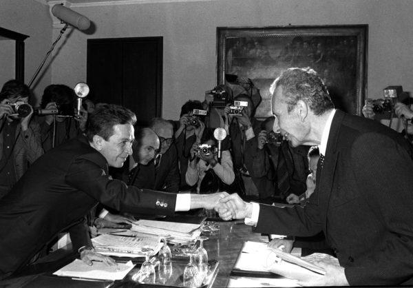Luigi Berlinguer e Aldo Moro - Roma, 3 Maggio 1977