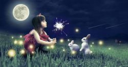 bambina indaco con conigli e stelline