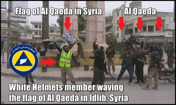 Elmetti bianchi sventolano bandiera Al Qaeda in Siria
