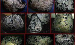 Nove pietre di Ica in file da tre. Si notano chiaramente dinosauri cavalcati da uomini e diverse specie animali esotiche (2)