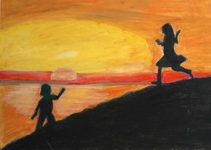 Bambini giocano al tramonto