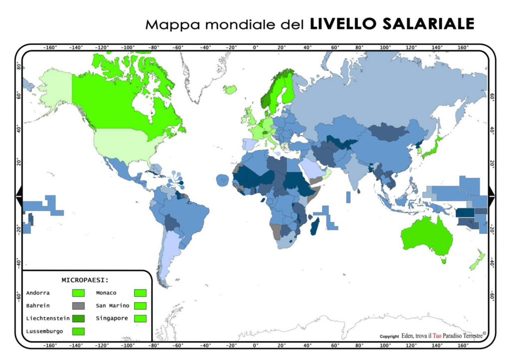Mappa mondiale del LIVELLO SALARIALE