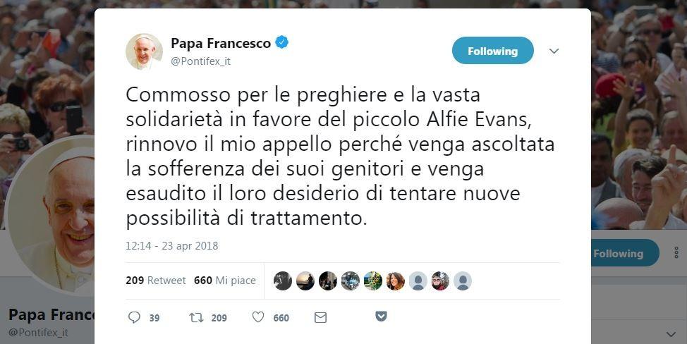 Il tweet di papa Francesco nella versione in italiano