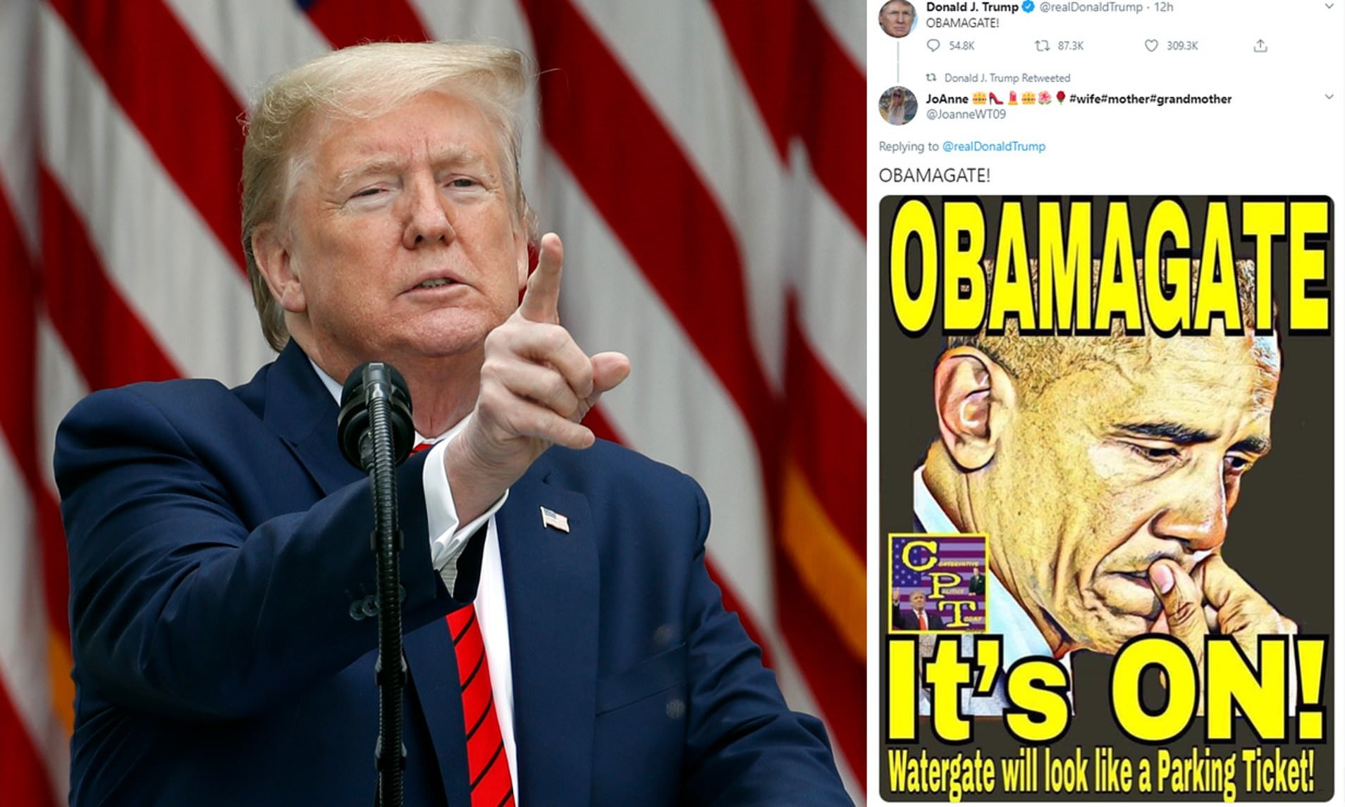 Donald Trump is asked exactly what 'Obamagate crime' Barack Obama ...