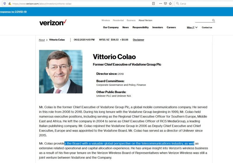 Colao conflitto interessi verizon