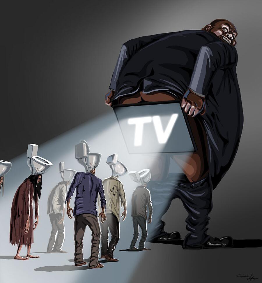 Illustrazioni satiriche raccontano i problemi della nostra società
